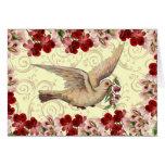 Vintage Dove & Birdbath Greeting Card
