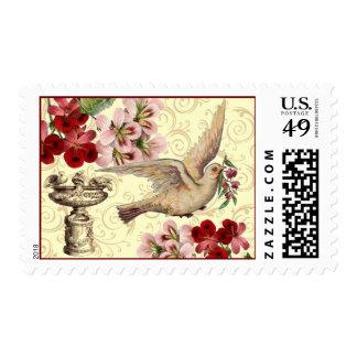 Vintage Dove & Birdbath Postage Stamps