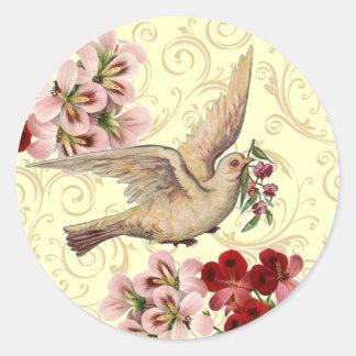 Vintage Dove Classic Round Sticker