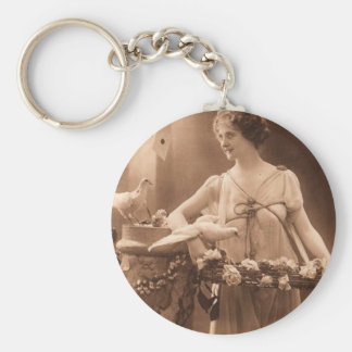 Vintage Dove Lady Basic Round Button Keychain