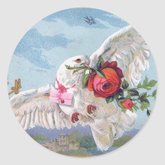 Vintage dove with flowers and A type character Classic Round Sticker