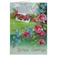 Vintage Doves Birthday Greetings Card