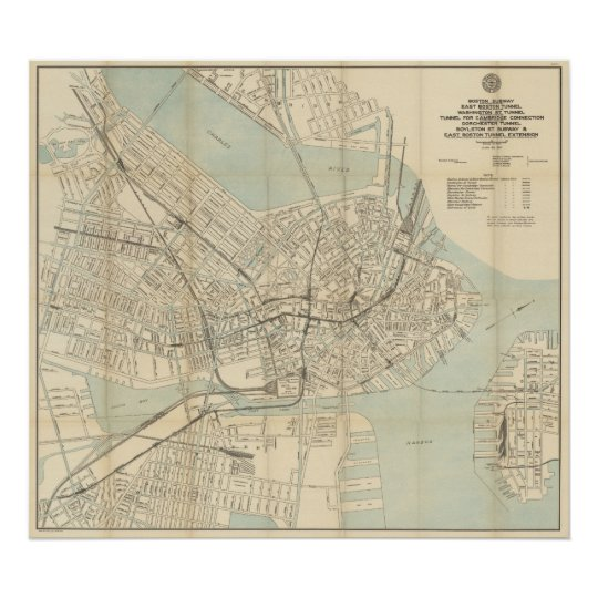 Vintage Downtown Boston Subway Map (1917) Poster