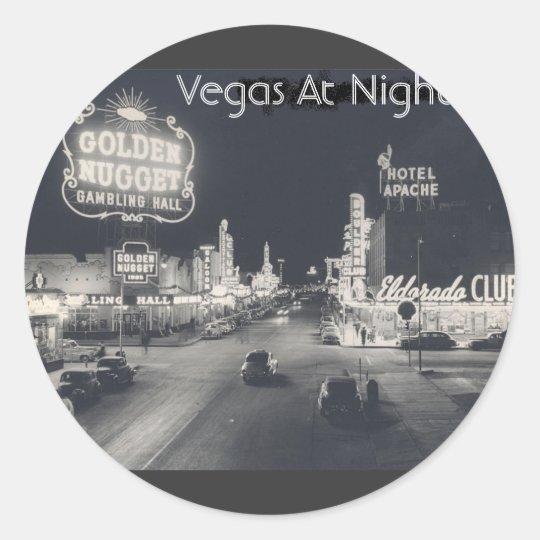 Vintage Downtown Las Vegas Classic Round Sticker