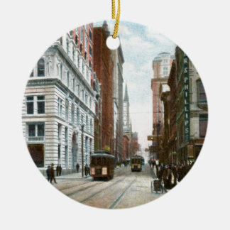 Vintage Downtown Pittsburgh Double-Sided Ceramic Round Christmas Ornament
