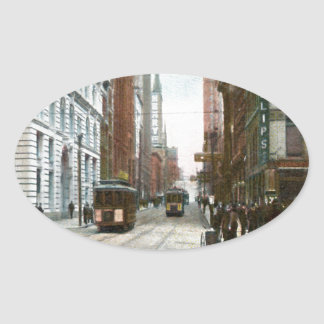 Vintage Downtown Pittsburgh Oval Sticker