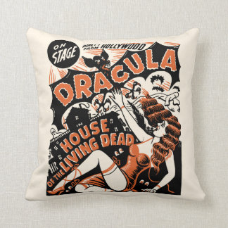 Vintage Dracula Spook Show Poster Art Pillow