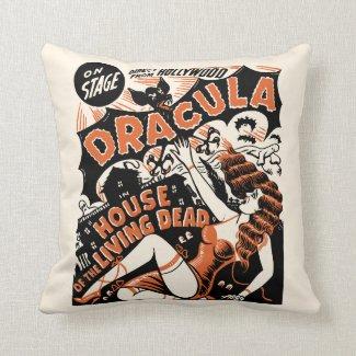 Vintage Dracula Spook Show Poster Art Throw Pillow