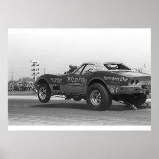 Vintage Drag - Chevy Corvette Sting Ray Poster