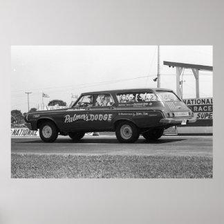 Vintage Drag Racing - 1964 Dodge 330 Wagon Poster