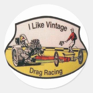 Vintage Drag Racing Classic Round Sticker