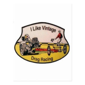 Vintage Drag Racing Postcard
