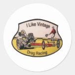 Vintage Drag Racing Round Sticker