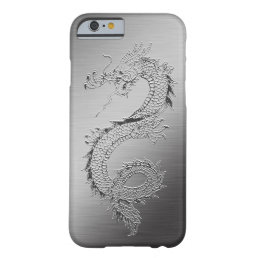Vintage Dragon Brushed Metal Look Barely There iPhone 6 Case