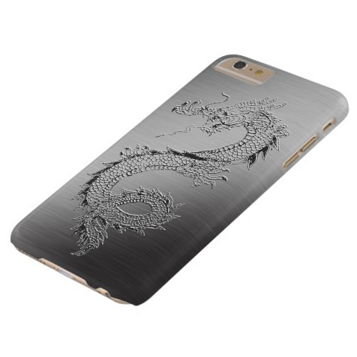 Vintage Dragon Brushed Metal Look Barely There iPhone 6 Plus Case