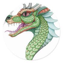 Vintage Dragon Classic Round Sticker