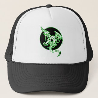 VINTAGE DRAGON IN FLIGHT ART PRINT IN GREEN TINT TRUCKER HAT