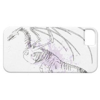 Vintage dragon skeleton with light purple splatter iPhone 5 cases