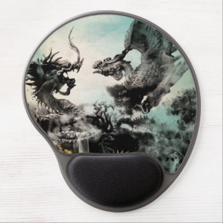 Vintage Dragon vs Phoenix - Chinese Painting Art Gel Mouse Pad