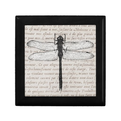 Vintage Dragonfly and Antique Text Collage Keepsake Boxes