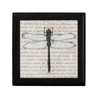 Vintage Dragonfly and Antique Text Collage Jewelry Box