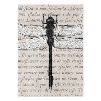 Vintage Dragonfly and Antique Text Collage Large Business Cards (Pack Of 100)