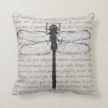 Vintage Dragonfly and Antique Text Collage Pillow