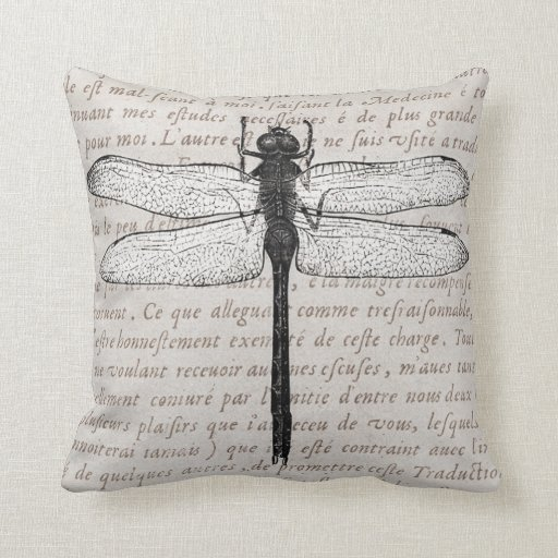 Vintage Dragonfly and Antique Text Collage Throw Pillow