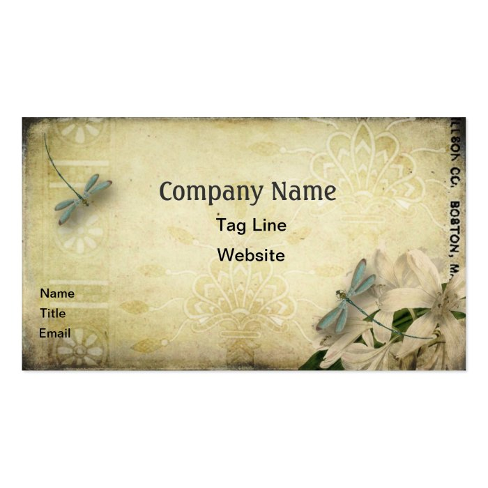 Vintage dragonfly business card template for Dragonfly business cards
