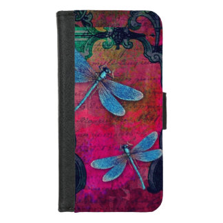 Vintage Dragonfly Collage French Script Decorative iPhone 8/7 Wallet Case