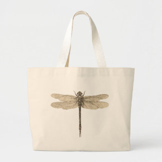 Vintage dragonfly drawing canvas bag