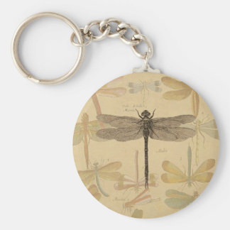 Vintage dragonfly drawing basic round button keychain
