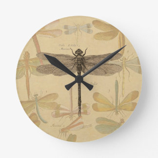 Vintage dragonfly drawing round wallclock