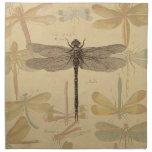 Vintage dragonfly drawing cloth napkins