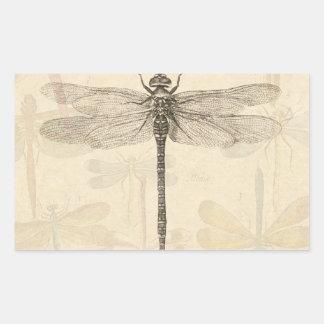 Vintage dragonfly drawing rectangular sticker