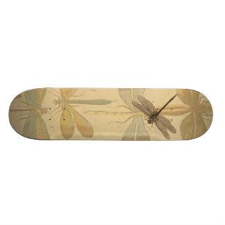 Vintage dragonfly drawing skateboard deck