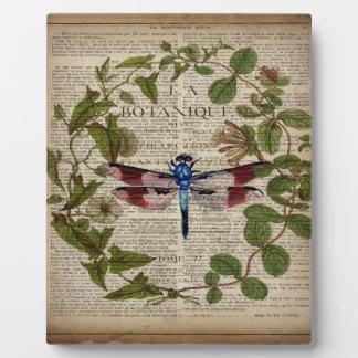 vintage dragonfly french botanical art print plaque