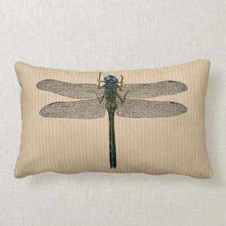 Vintage Dragonfly Illustration Lumbar Pillow