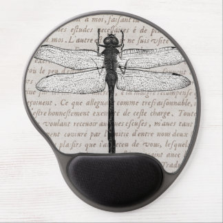 Vintage Dragonfly on Antique French Parchment Gel Mouse Pad