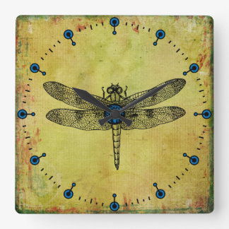 Vintage Dragonfly Square Wall Clock