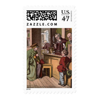 Vintage Drawing: An Antique Pharmacy Postage