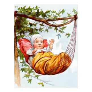 Vintage Drawing: Baby in a Hammock Postcard