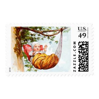 Vintage Drawing: Baby in Hammock Postage Stamps