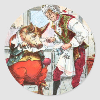 Vintage Drawing: Barber Shave a Pig Classic Round Sticker