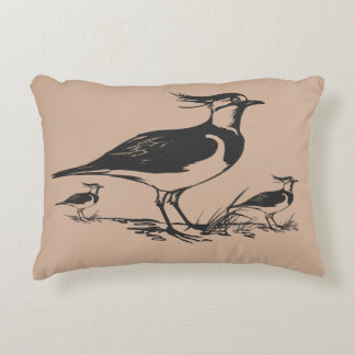 Vintage Drawing Black And Tan Lapwing Bird Family Accent Pillow