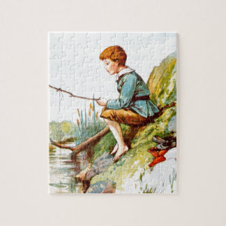 Vintage Drawing: Boy Fishing in a River Puzzle