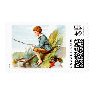 Vintage Drawing: Boy Fising in a Small River Postage