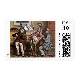 Vintage Drawing: Children in Music Class Postage