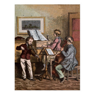 Vintage Drawing: Children in Music Class Postcard