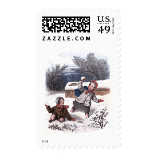 Vintage Drawing: Children Playing in the Snow Postage Stamp